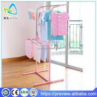 pink length adjustable clothes stand to hang clothes
