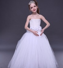 Kids Formal Latest Children Dress Designs Ball Gowns White Flower Girl Dresses for Children