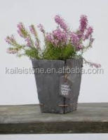 Natural stone plant pot/slate large garden vases/stone rectangular planter box