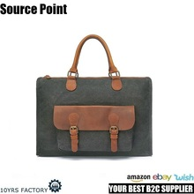 YD-2167 UK men's vintage canvas leather satchel leather trim canvas briefcase laptop messenger bag for men