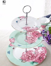 Bone China Cake Stand - Beauty Face Series 3 tier cake/fruit stand/plate