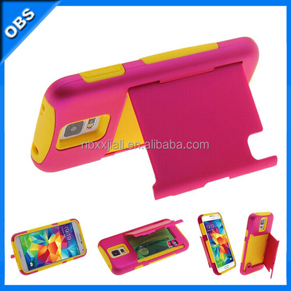 PC silicone mobile phone case with stand case function for samsung S5