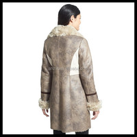 Long Women's Faux Shearling 3/4 Coat