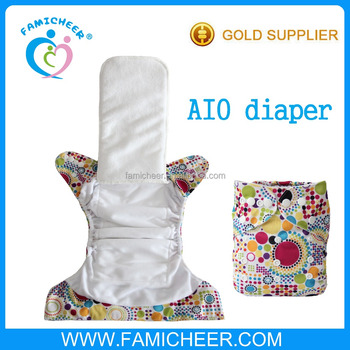 Reusable Natural Bamboo Sewn In Insert Snaps Tab Baby AIO Nappy