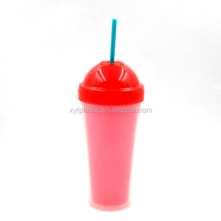 Double wall promotional coffee mug,promotional mug and cup,promotional plastic cup with straw