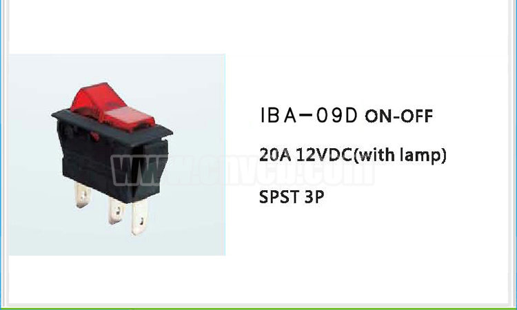 AS11 IBA-09D SPST 3P LED Auto ON OFF Light Switch Rohs Automotive switch with lamp 12VDC