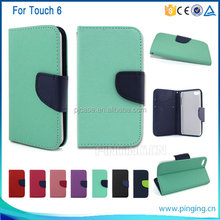 wholesales mobile phone wallet stand leather case for ipod touch 6 Stand Cover Case,for ipod touch 6 case
