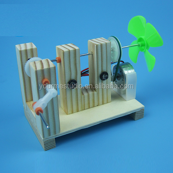 Hand-cranked generator lights DIY technology manual assembly model