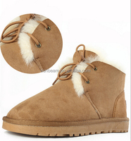 Hot sale sheepskin leather baby boys snow boots