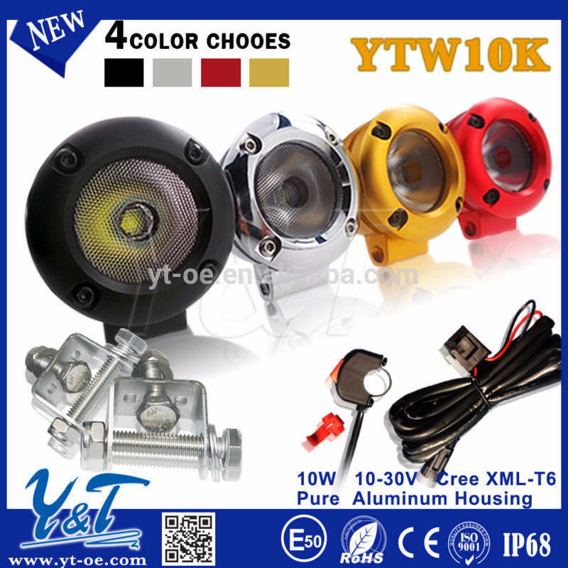 authentic led 10-30v 10w work light led round head light scooter for motorcycle/electric bike/bicycle/off road