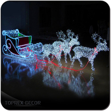 Shopping centre reindeer lights christmas sleigh indoor decoration