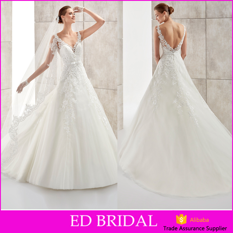 High Quality V Neckline Sleeveless Low Back Appliques Tulle Sash Bow 2016 German Wedding Dresses