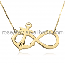 thin gold chain necklace designs Initial Anchor Infinity Necklace in Gold Plating for women