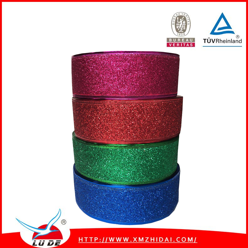 2016 glitter christmas ribbon for decoration