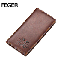 FEGER branded famous long type genuine leather wallet for men