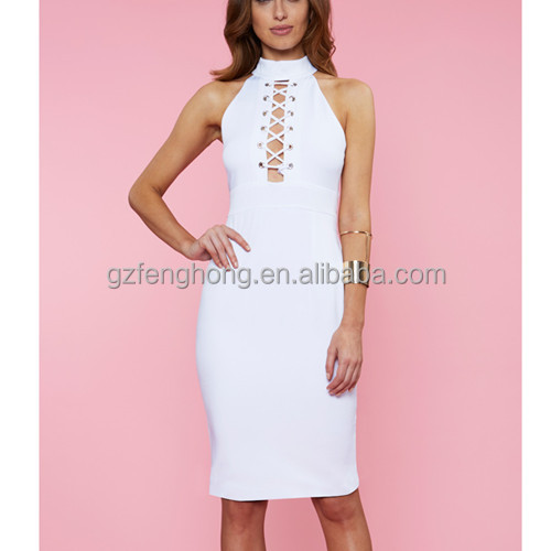 2016 Spring New Style Women Sexy White Bodycon Wholesale Bandage Dresses Knee Length