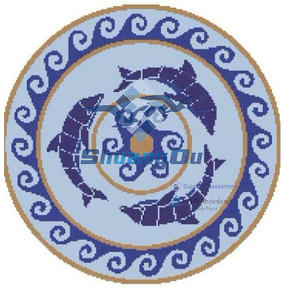 Porcelain mural mosaic for swimming pools