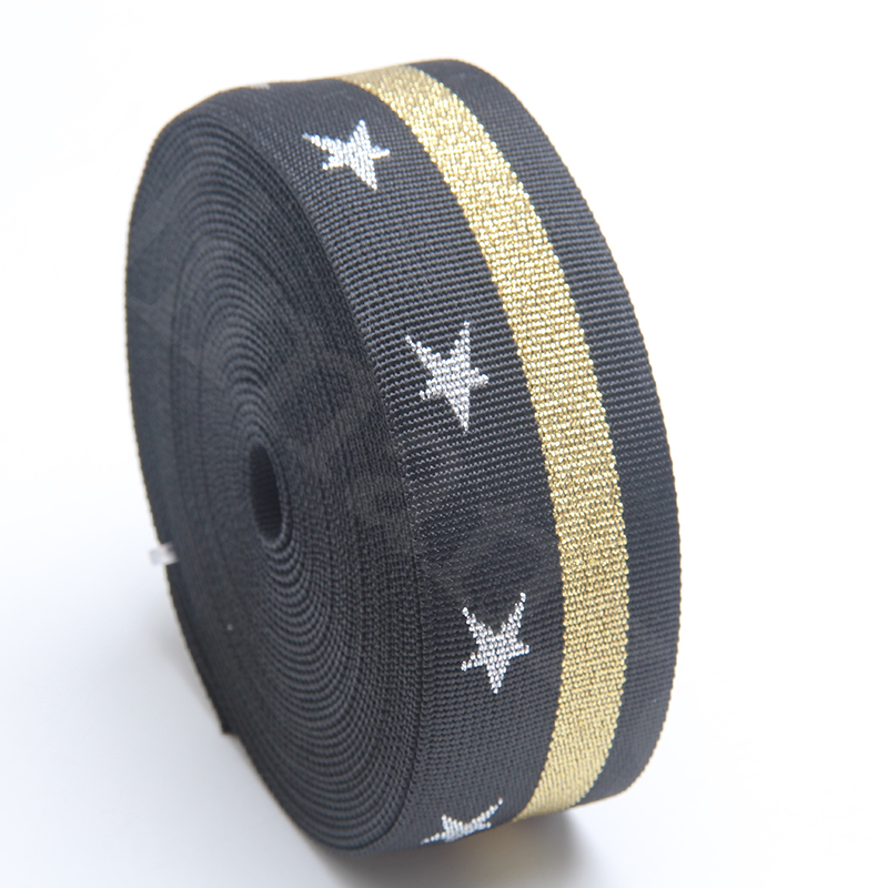 black jacquard weaving webbing gold line multi-color with 5 star sliver logo 2 inch