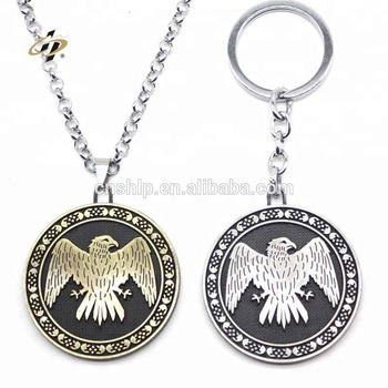 Custom die struck metal emboss coin holder keychain