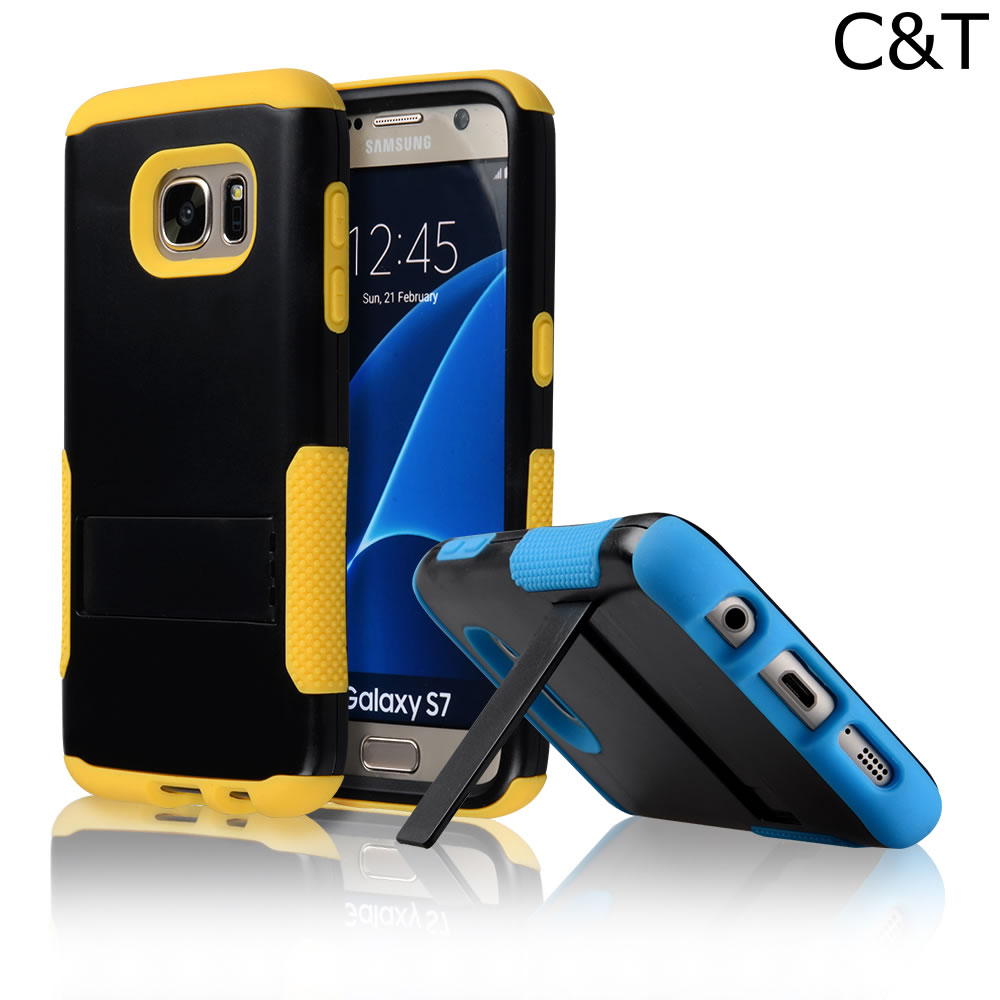 C&T Kickstand Hybrid Dual Layer Armor Protective Case Cover for Samsung Galaxy S7