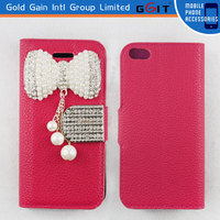 Hot Sale Best Quality Wallet Leather Flip Cover For iPhone 5G Lichee Pattern Pearl Bowkont Flip Case