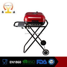 Practical foldable durable steel 18 inch smoke free helmet bbq grill trolley