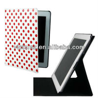 For iPad 2/3/4 Leather Case, 360 Rotating Polka Dot PU Leather Smart Case Stand