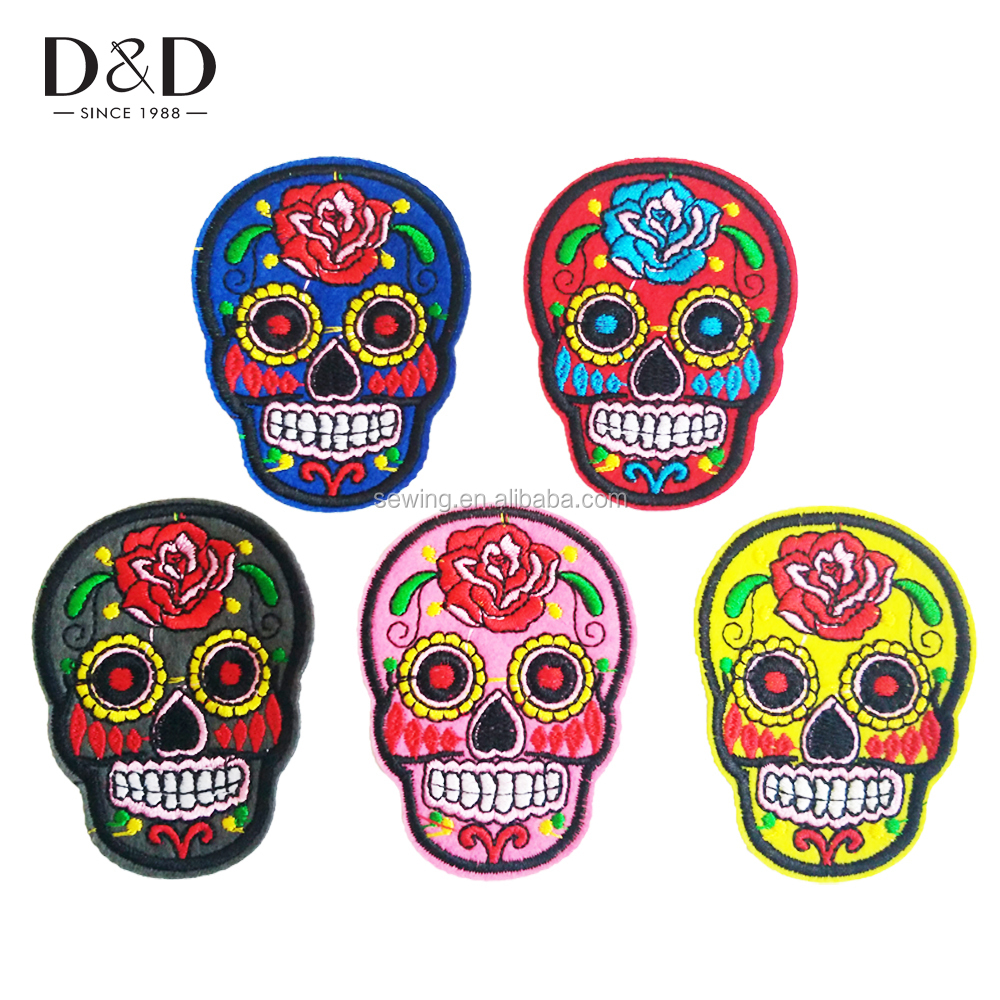 D&D Sewing Craft 10 Pcs/Pack Skull Iron On Patches Embroidered