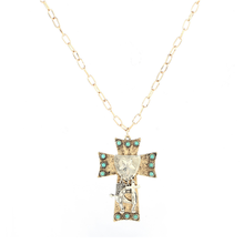New Design European and American Necklace Jewelry Alloy Pendant Cross Turquoise Fashion Jewelry Women's Sweater Necklace