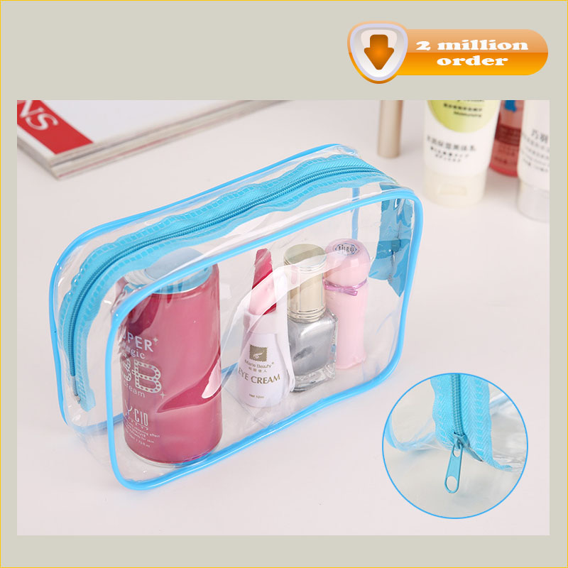 Hot Selling China Suppliers gift promotion waterproof custom cosmetic bag with zipper and logo travel PVC clear cosmetic bag