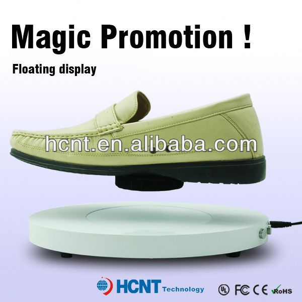 new invention ! magnetic levitating led display stand for shoe woman,straw wedge heel shoes