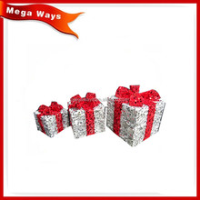 Christmas holiday home decorations Silver sisal gifts box
