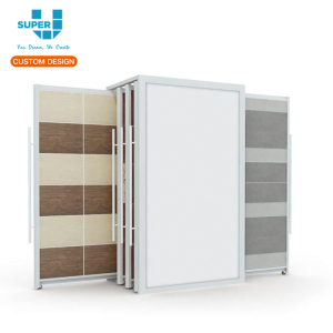 Custom Porcelain Ceramic Slide Tile Display Rack Flooring Stand For Showroom