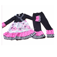 china yiwu newborn baby clothing 2pcs cotton black top floral skirt girl sports clothes sets