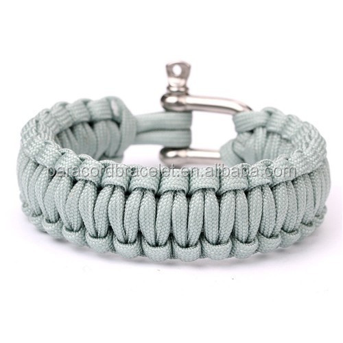Newest Arrival <strong>21</strong>~25cm wrist Paracord 550 Hiking Survival Weave Bracelets with Stainless Steel <strong>U</strong> Shackle