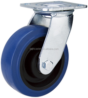5 inch double ball bearing swivel elastic rubber caster wheel