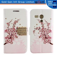 Leather+PC or TPU Case for Moto G Flip Cover With Diamond Button