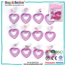 Newly party Hong Kong return gifts cheap plastic heart shaped earrings