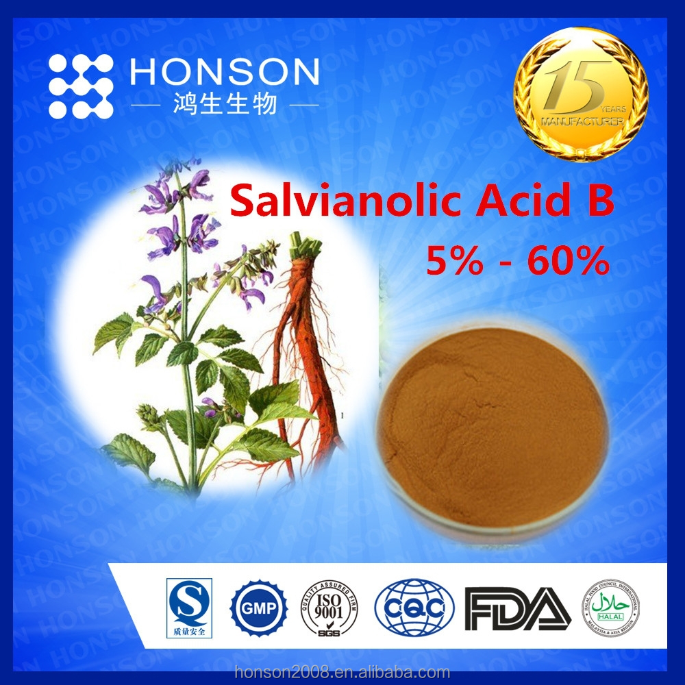 Chinese herbs extract salvia root extract 5% - 60% Salvianolic Acid B cure hypertension