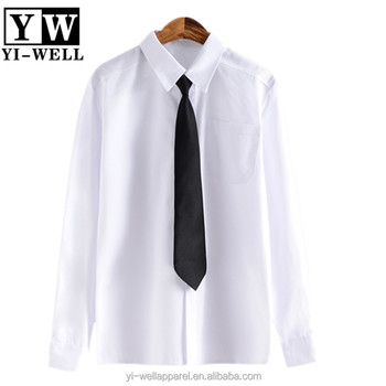 custom logo embroidery blank white shirt school uniform shirt with tie