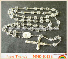 Clear crystal beads rosary necklace, cross necklace jewelry
