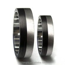 Custom LOGO Free Stainless Steel Mens Unique Sliver Jewelry Double Row Carbon Fiber Ring