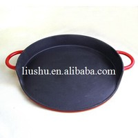 Two ears handle round shape sizzler BBQ grill plate server