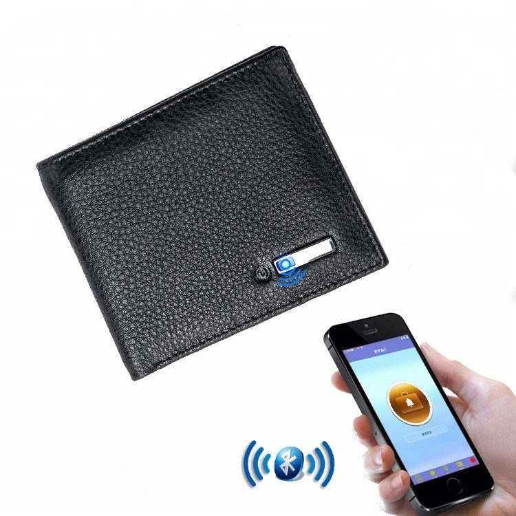 online shopping free shipping 2018 new Genuine Leather Bluetooth wallet anti-theft alarm Anti-lost Smart Wallet for <strong>men</strong> with gps