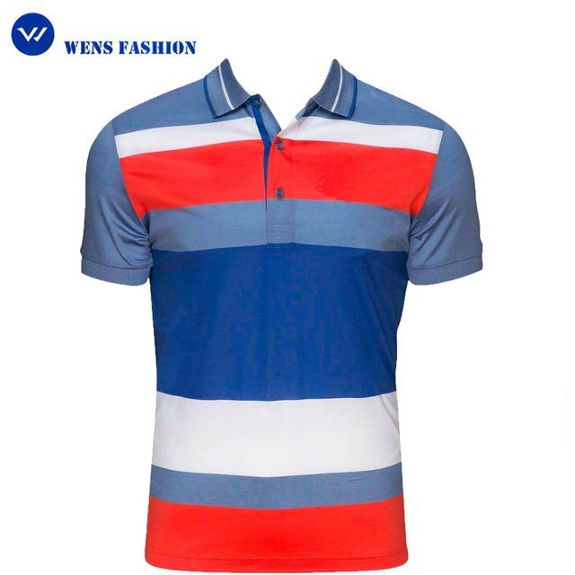 Fancy Cotton Golf Mens t shirt vertical stripe color combination polo shirt