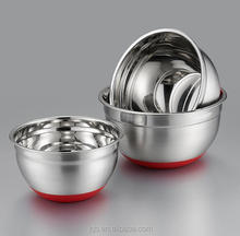 stainless steel 18 20 22 cm red color silicone bottom salad bowl