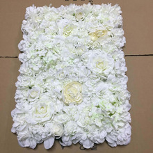 FlowerKing white rose flower wall decorative artificial wedding fabric flower wall
