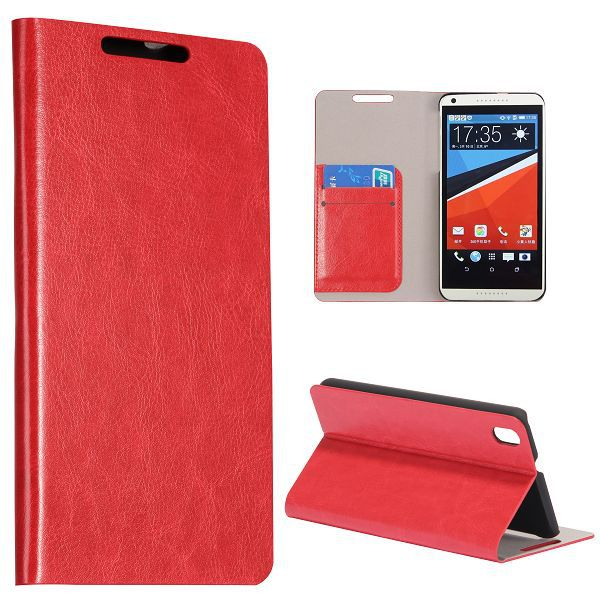 Crazy Horse Texture with Card Slots Flip Stand PC and PU Leather Phone Case For HTC Desire 820