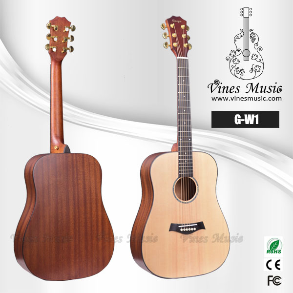 Solid spruce top high end acoustic guitar best guitar manufacturer G-W1