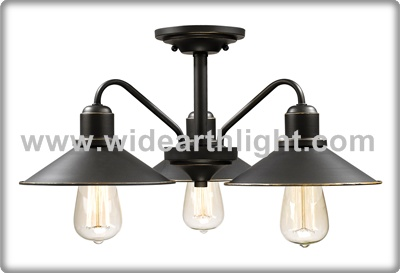 UL CUL Listed 3 Lights Metal Shade Hotel Kitchen Ceiling Light In Black Finish C50396